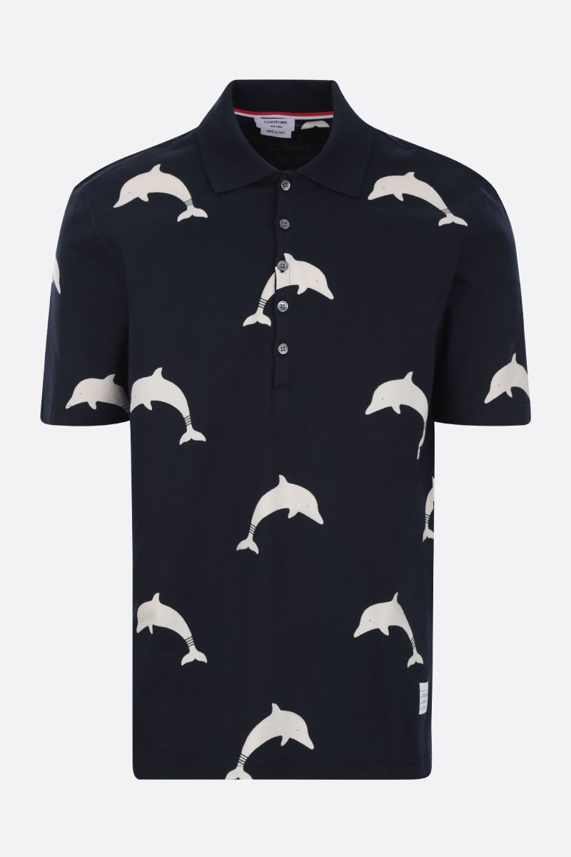 THOM BROWNE: Dolphin Icon print cotton polo shirt Color Blue_1