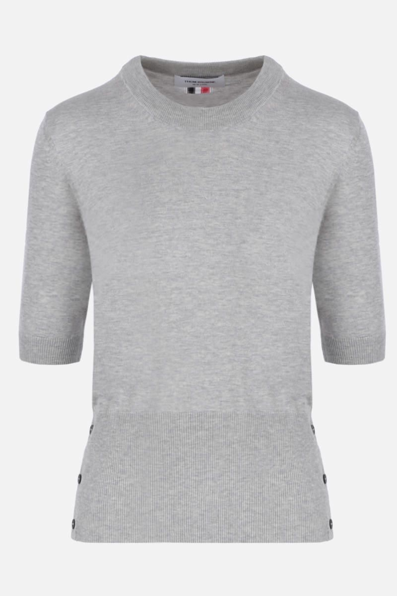 THOM BROWNE: short-sleeved pullover in silk cotton blend Color Grey_1