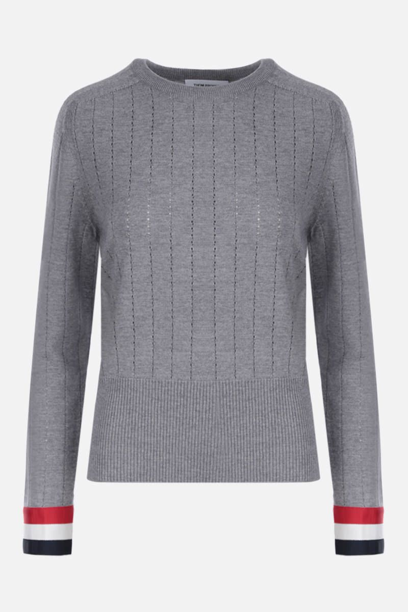 THOM BROWNE: pointelle-stitch wool pullover with tricolor details Color Grey_1