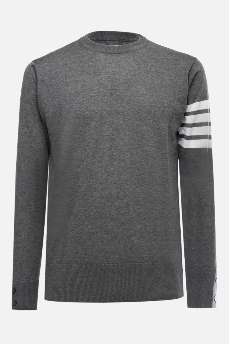 THOM BROWNE: wool pullover with 4-Bar intarsia Color Grey_1