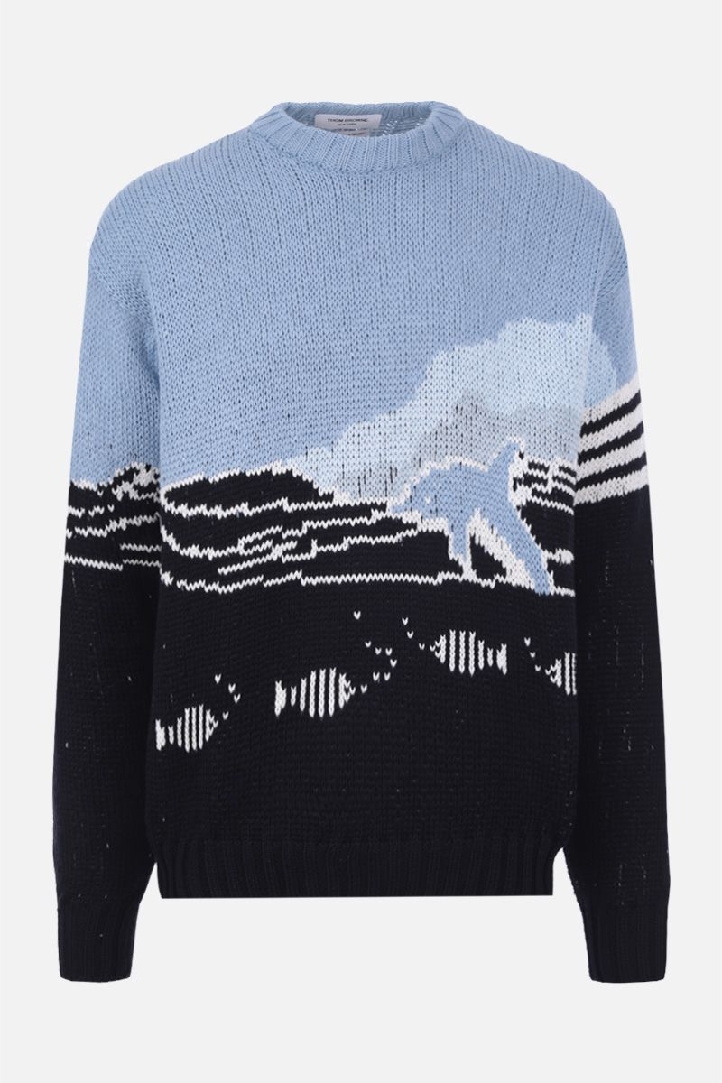 THOM BROWNE: Dolphin and sea scenic jacquard cotton pullover Color Blue_1