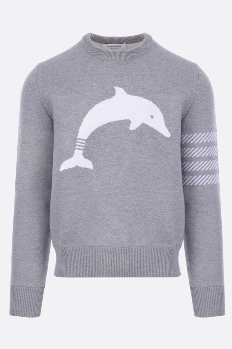 THOM BROWNE: Dolphin Icon intarsia wool blend pullover Color Grey_1