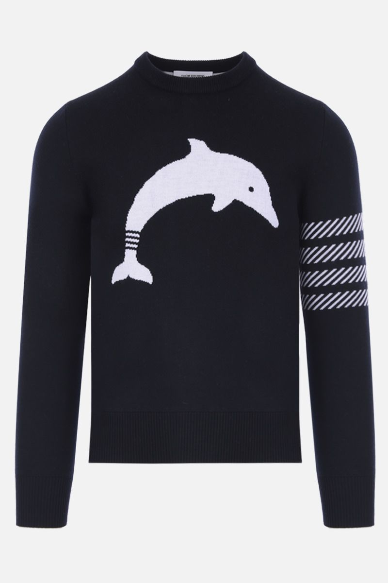 THOM BROWNE: Dolphin Icon intarsia wool blend pullover Color Blue_1