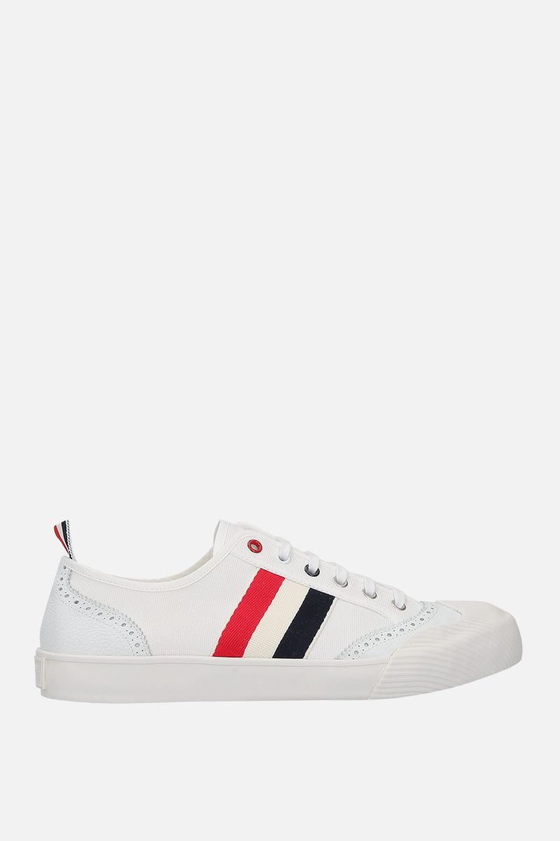 THOM BROWNE: brogued low-top canvas sneakers Color White_1