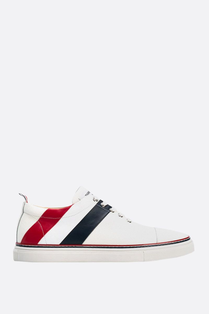 THOM BROWNE: tricolour-detailed Pebble Grain sneakers Color White_1