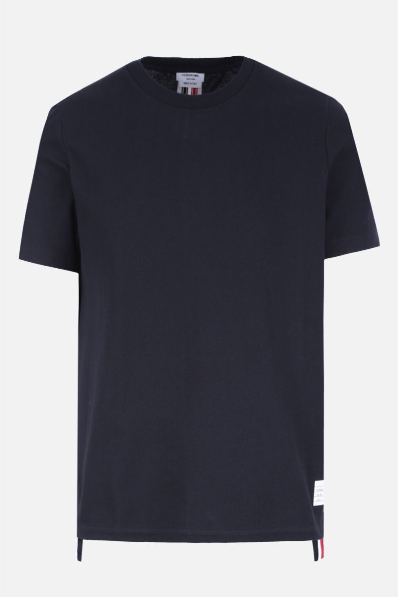 THOM BROWNE: cotton piquet t-shirt Color Blue_1
