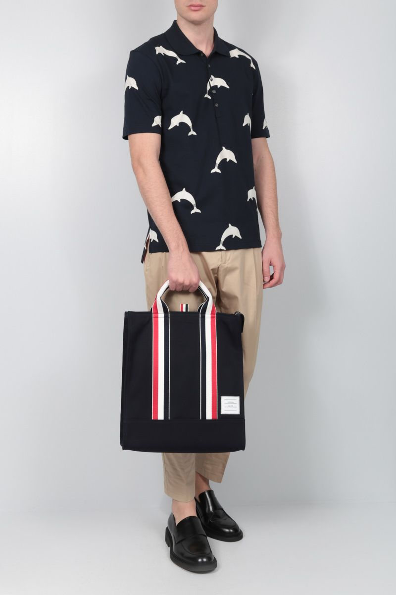 THOM BROWNE: canvas and Pebble Grain tote bag Color Blue_2