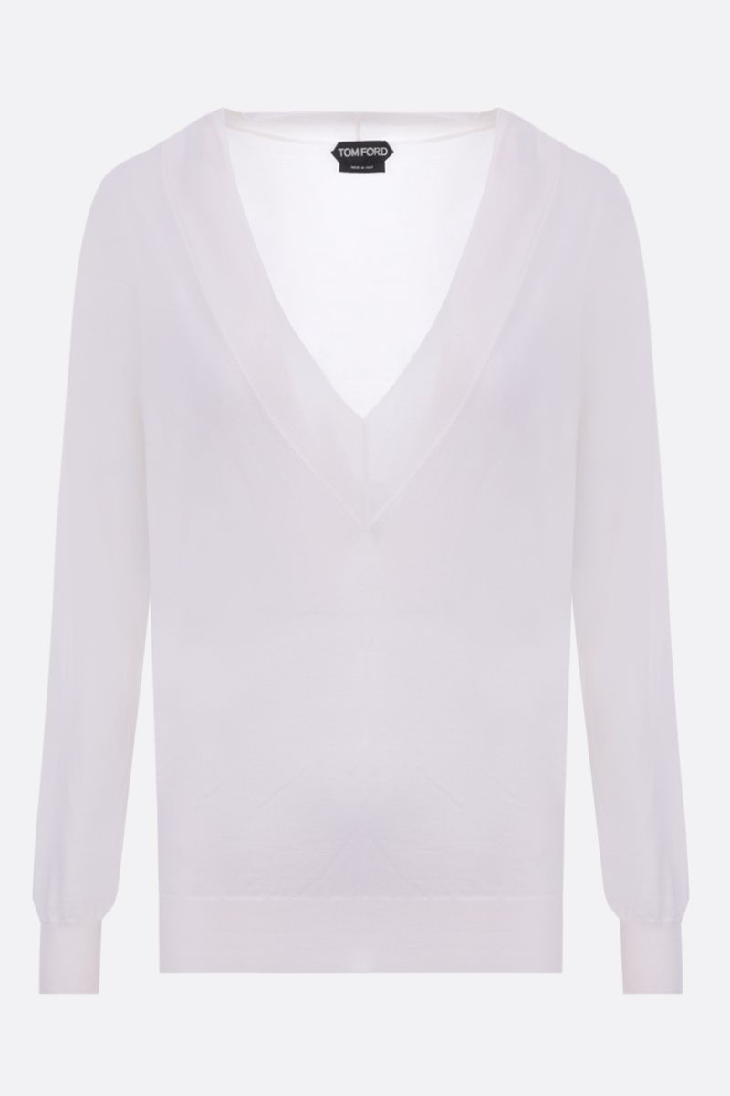 TOM FORD: cashmere silk blend lightweight pullover Color Neutral_1