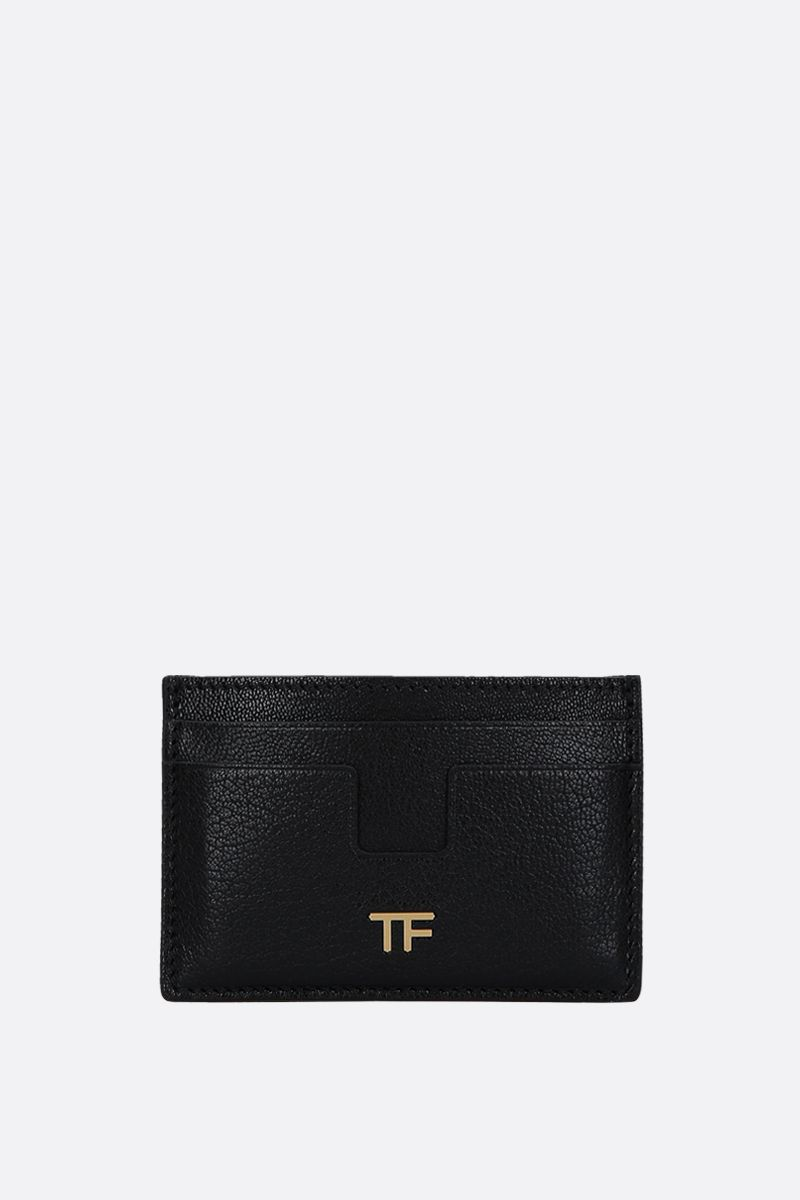 TOM FORD: grainy leather card case Color Black_1