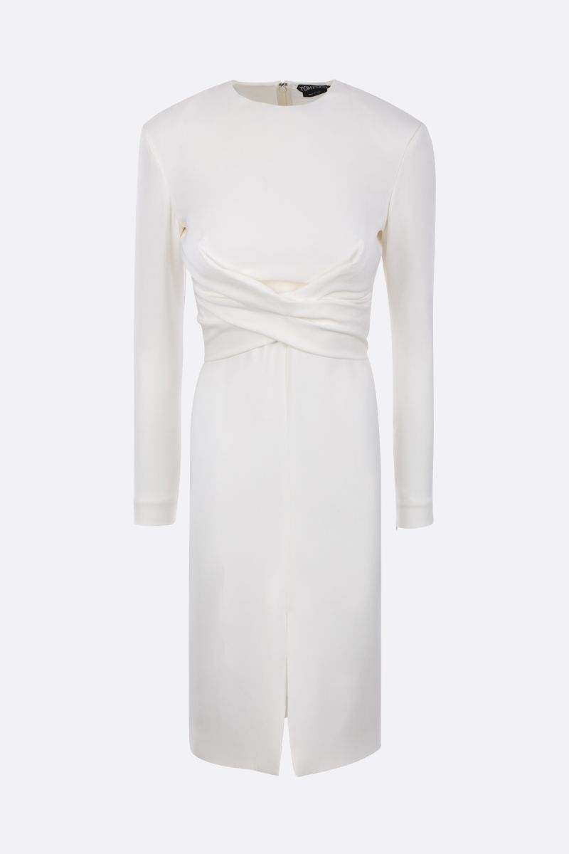 TOM FORD: stretch silk midi dress Color Neutral_1