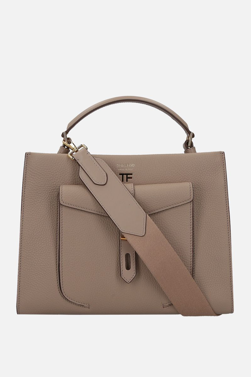 TOM FORD: T Twist small top handle bag in grainy leather Color Grey_1