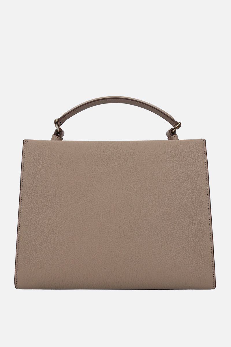 TOM FORD: T Twist small top handle bag in grainy leather Color Grey_2