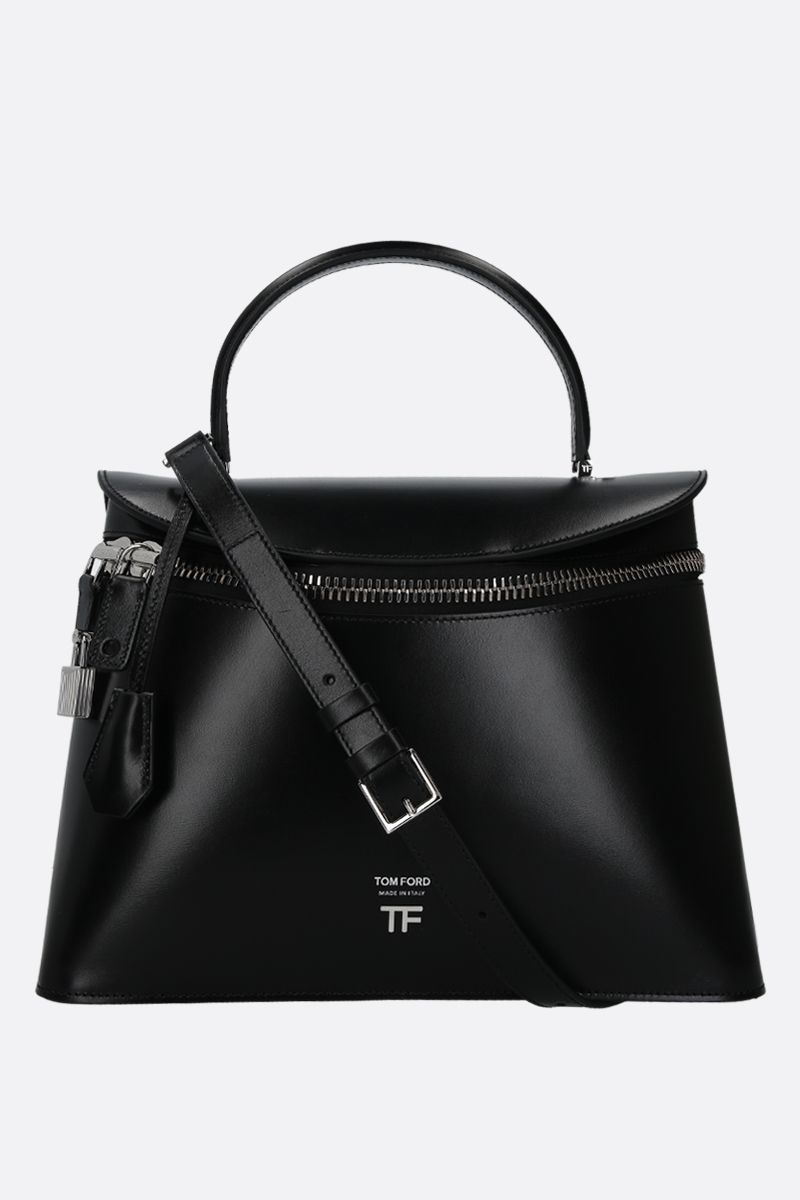 TOM FORD: shiny leather top handle bag Color Black_1