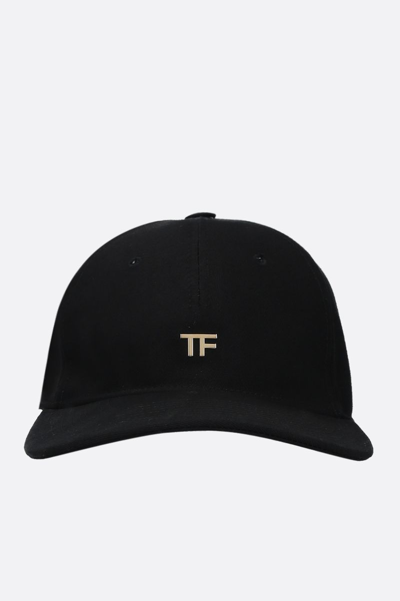 TOM FORD: TF logo-detailed gabardine baseball cap Color Black_1