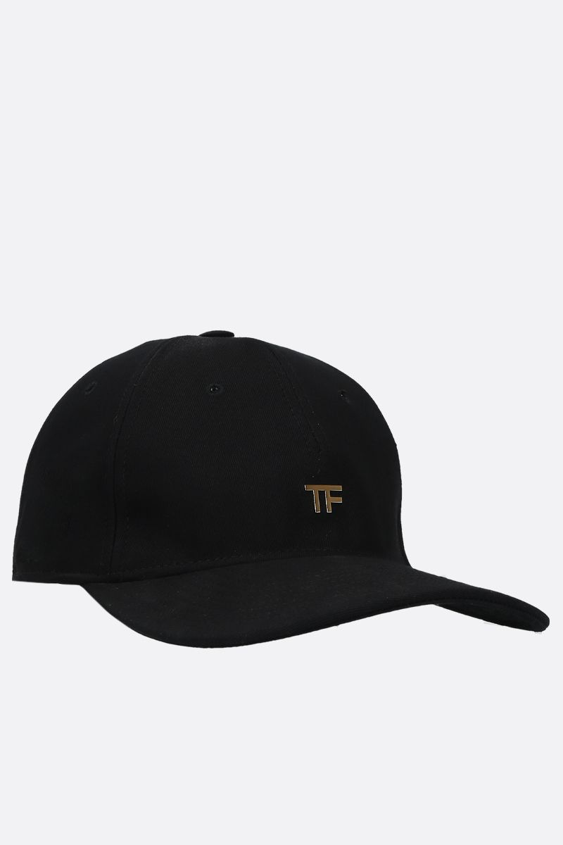 TOM FORD: TF logo-detailed gabardine baseball cap Color Black_2