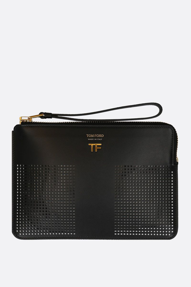 TOM FORD: TF pouch in smooth and perforated leather Color Black_1