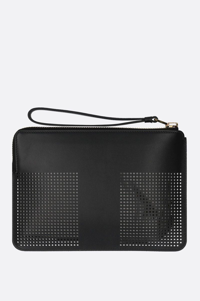 TOM FORD: TF pouch in smooth and perforated leather Color Black_2