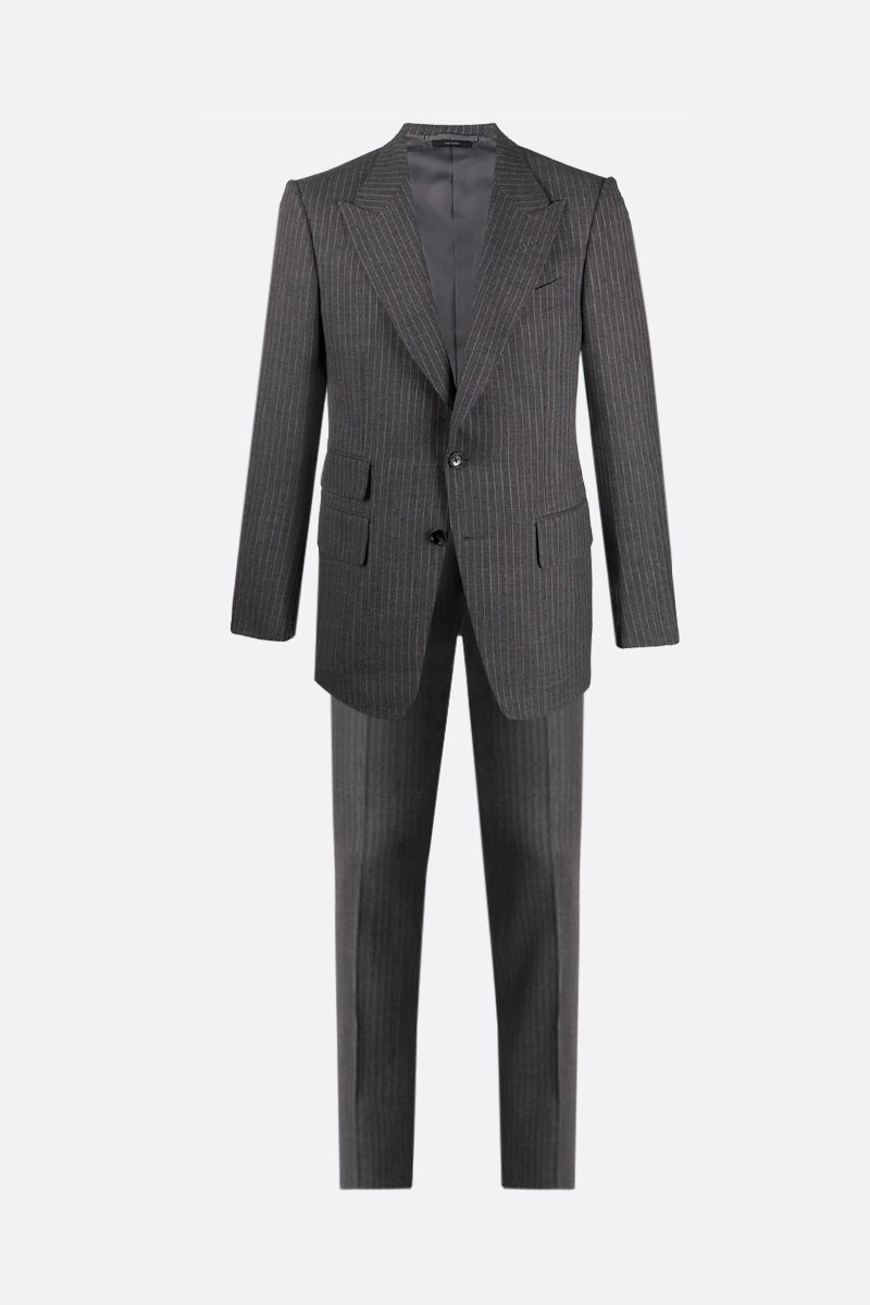 TOM FORD: pinstriped wool silk blend two-pieces suit Color Grey_1