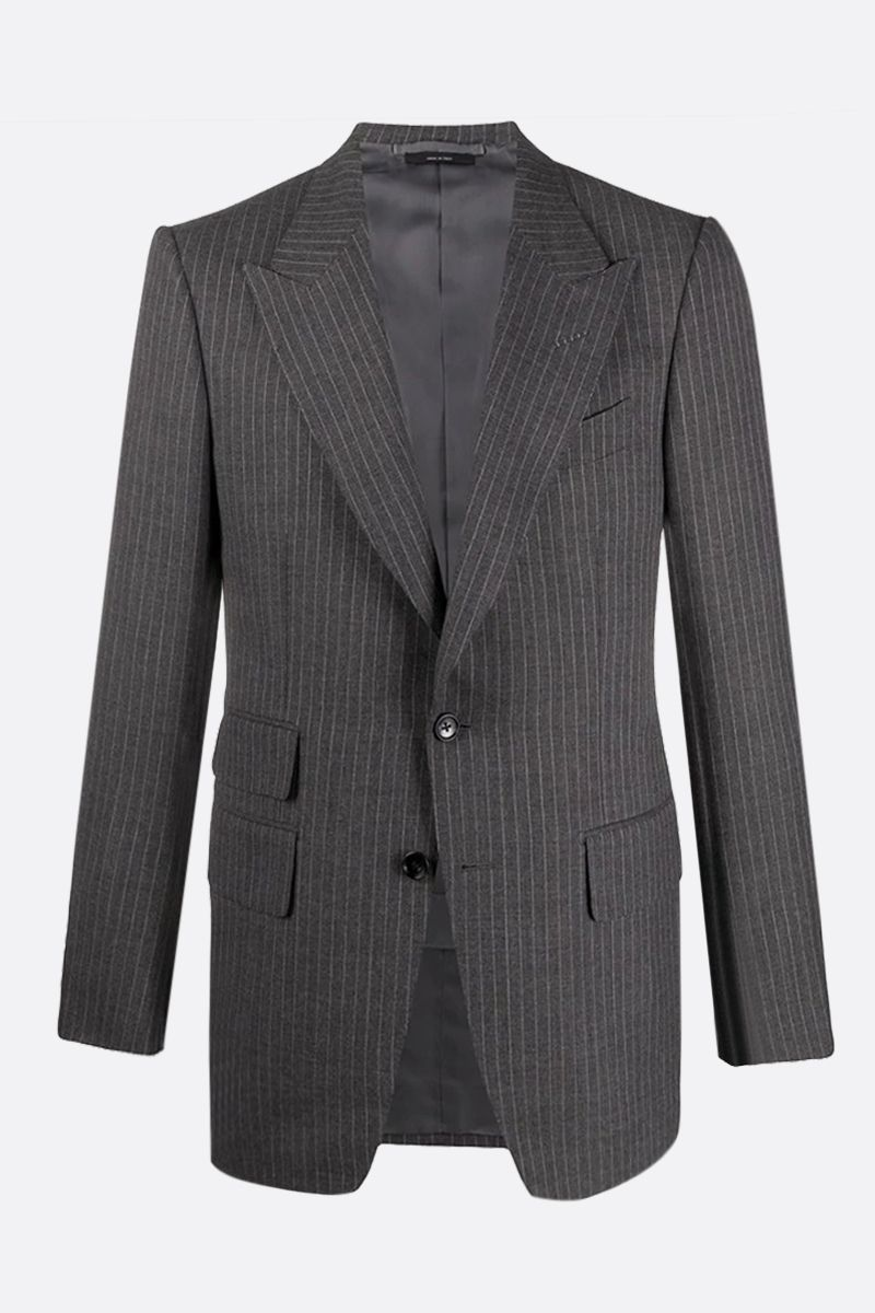 TOM FORD: pinstriped wool silk blend two-pieces suit Color Grey_2
