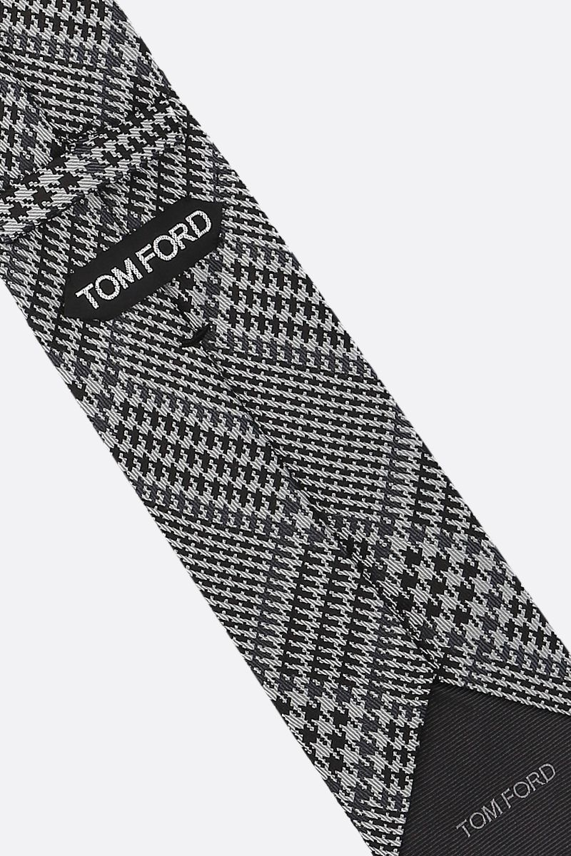 TOM FORD: houndstooth silk tie Color Grey_2