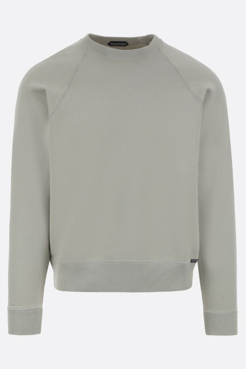 TOM FORD: logo label-detailed cotton sweatshirt Color Green_1