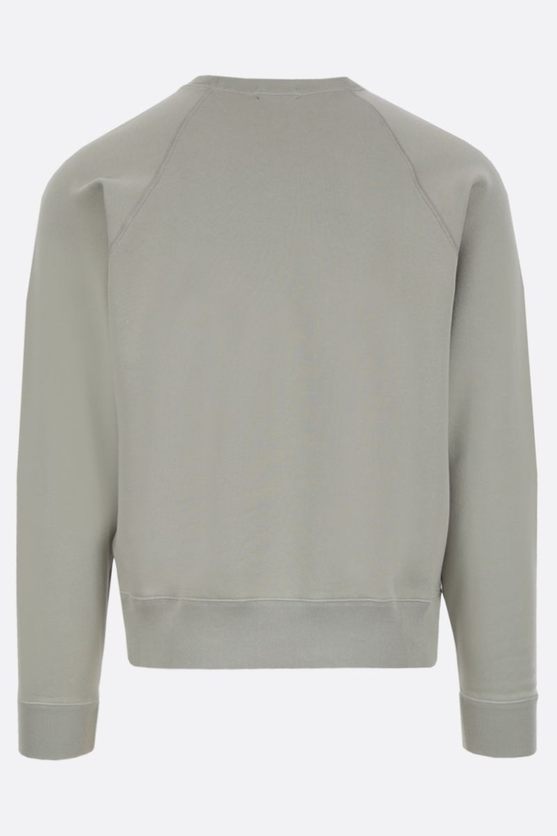 TOM FORD: logo label-detailed cotton sweatshirt Color Green_2