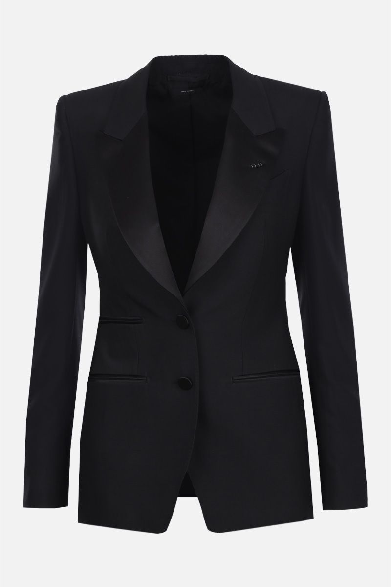 TOM FORD: wool silk blend tuxedo jacket Color Black_1