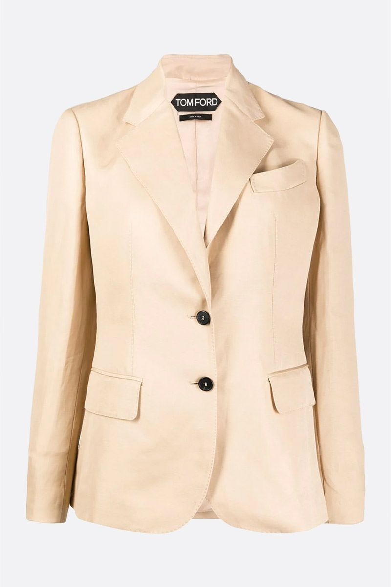 TOM FORD: linen blend single-breasted jacket_1