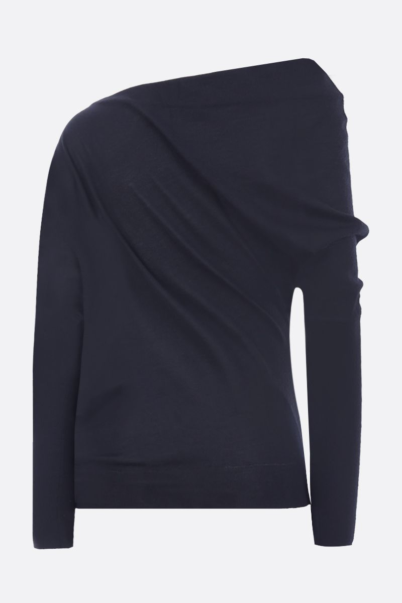 TOM FORD: one-shoulder pullover in cashmere silk blend Color Black_2