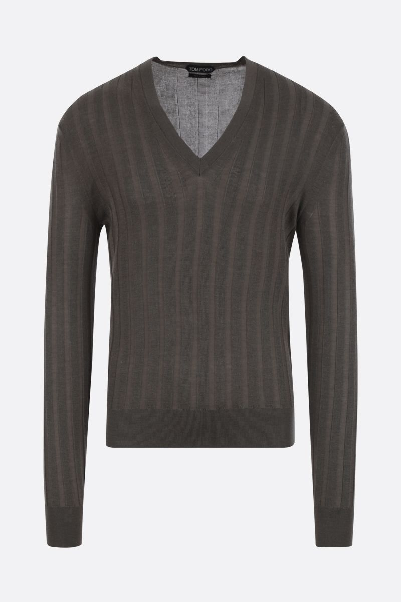 TOM FORD: rib-knit cashmere silk blend pullover Color Brown_1
