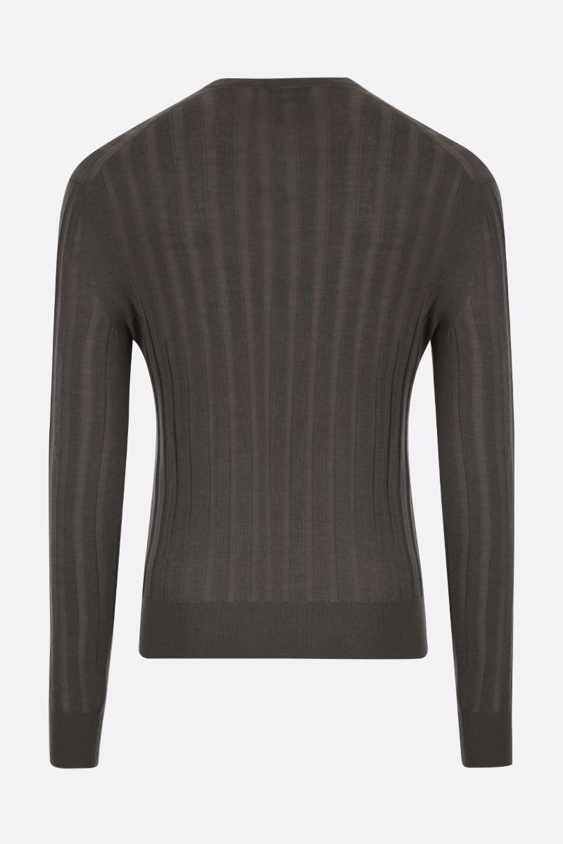 TOM FORD: rib-knit cashmere silk blend pullover Color Brown_2