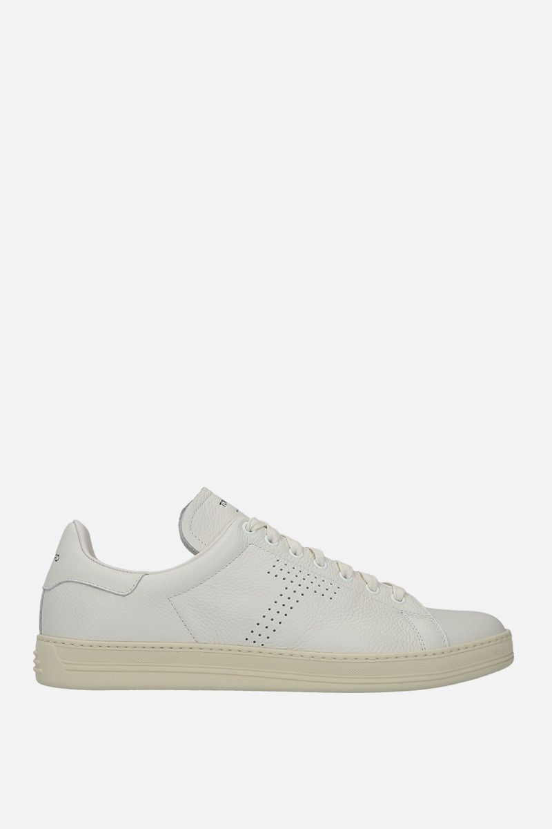 TOM FORD: Warwick sneakers in grainy leather Color White_1