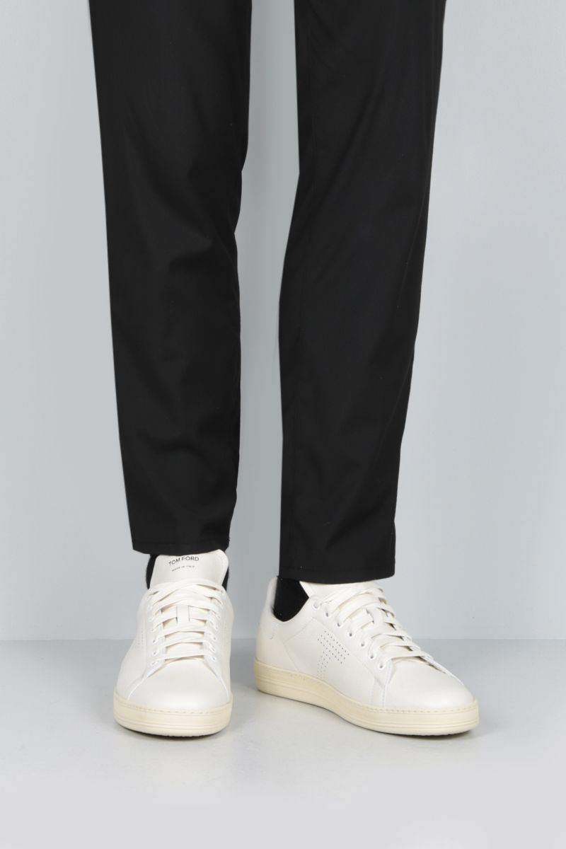 TOM FORD: Warwick sneakers in grainy leather Color White_2