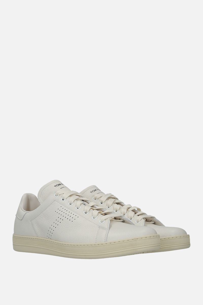 TOM FORD: Warwick sneakers in grainy leather Color White_3