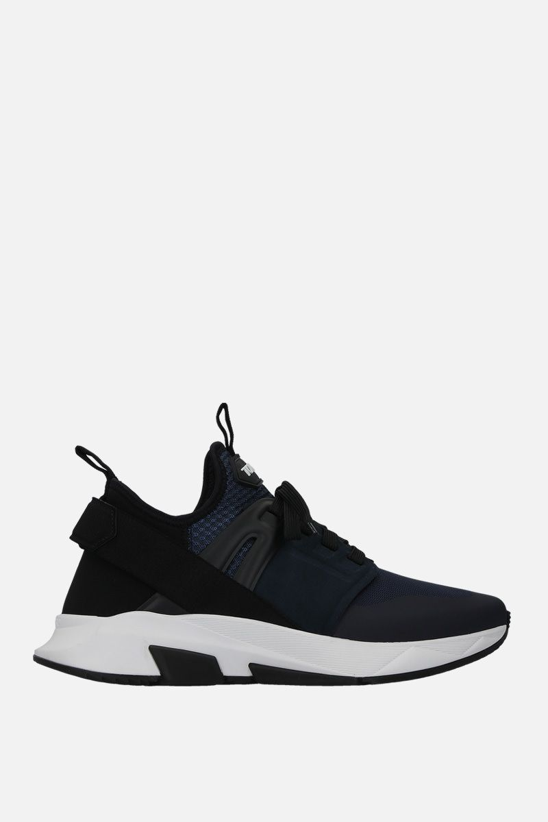 TOM FORD: Jago sneakers in mesh and neoprene Color Blue_1