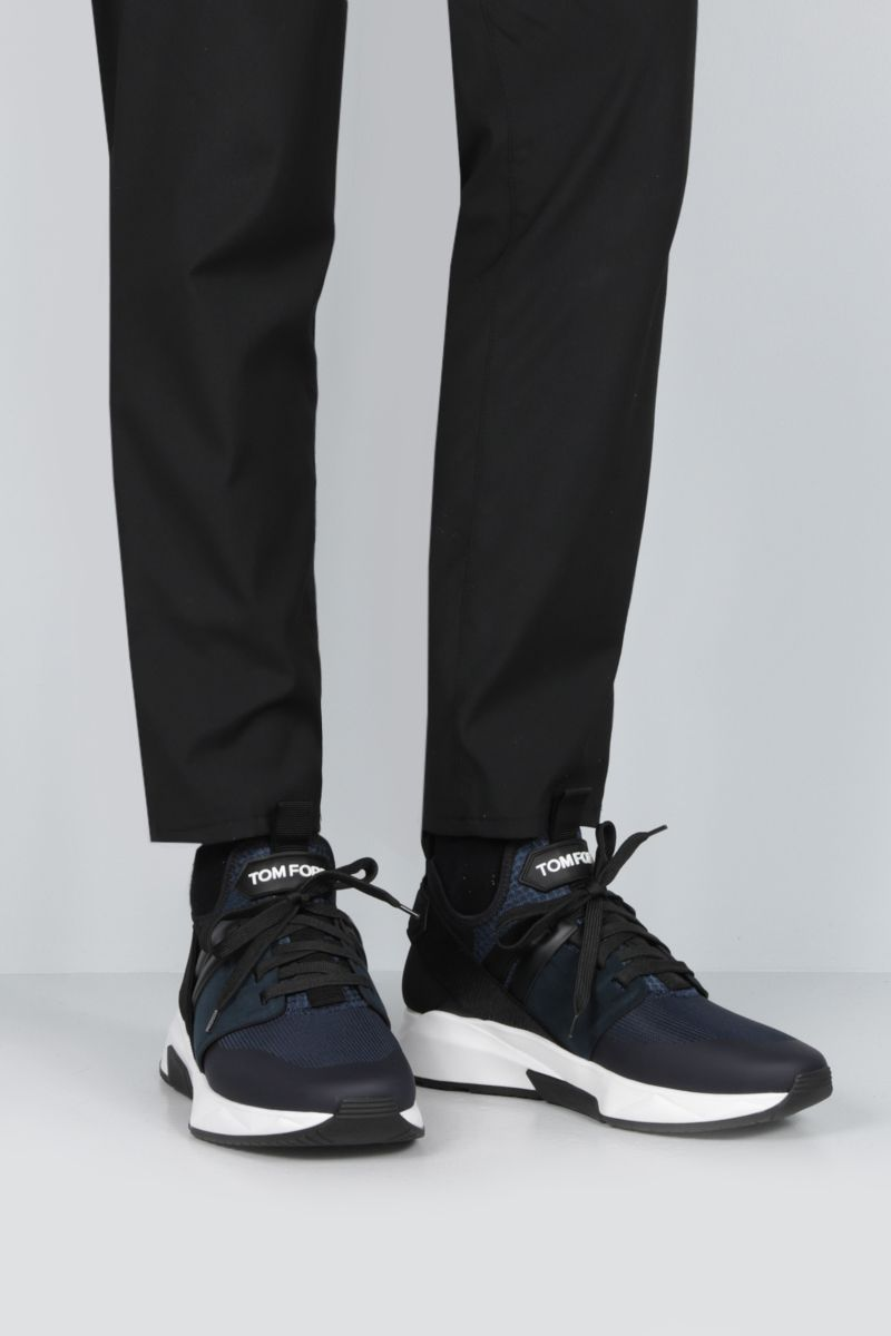 TOM FORD: Jago sneakers in mesh and neoprene Color Blue_2