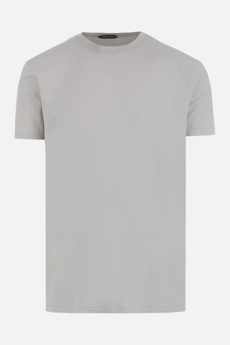 TOM FORD: t-shirt in misto cotone ricamo TF Colore Verde_1