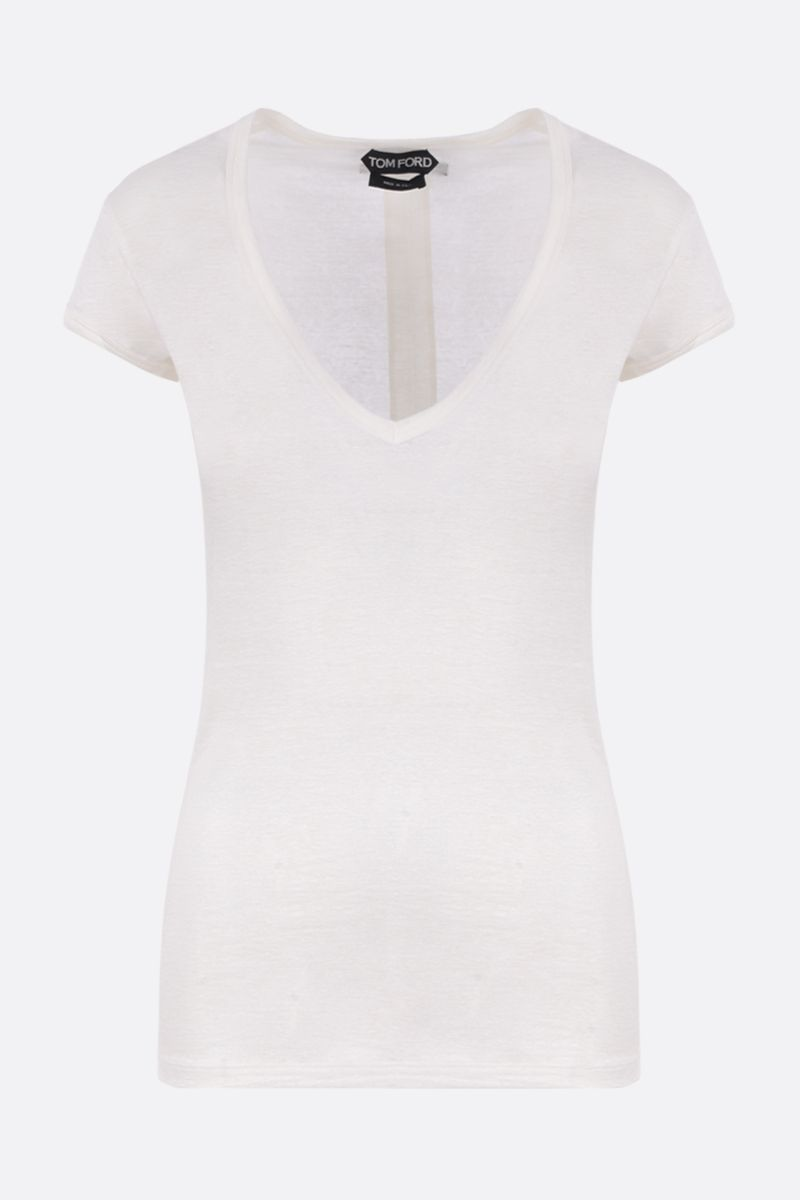 TOM FORD: stretch linen t-shirt Color Neutral_1