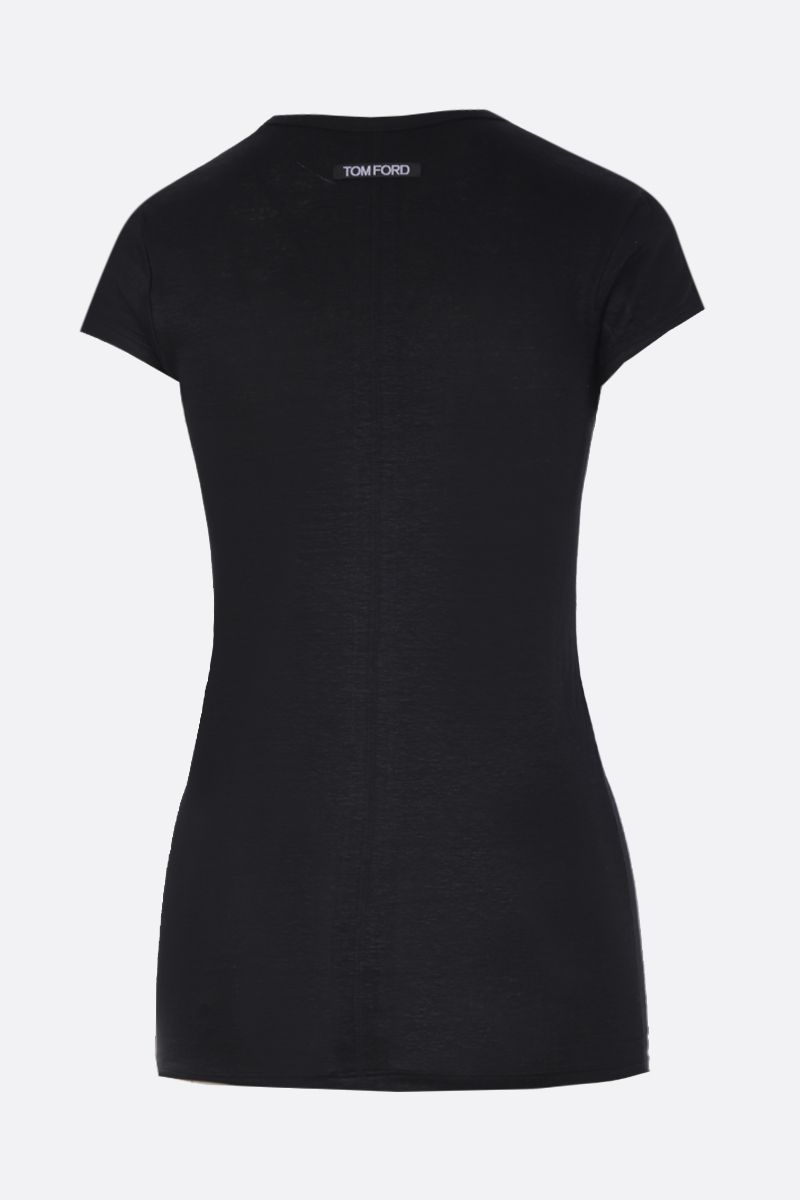 TOM FORD: t-shirt in lino stretch Colore Nero_2