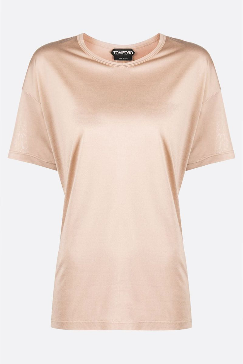 TOM FORD: logo labell-detailed silk t-shirt Color Neutral_1