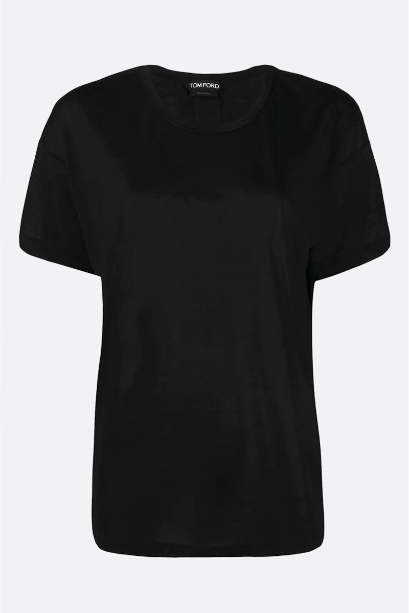 TOM FORD: logo label-detailed silk t-shirt Color Black_1