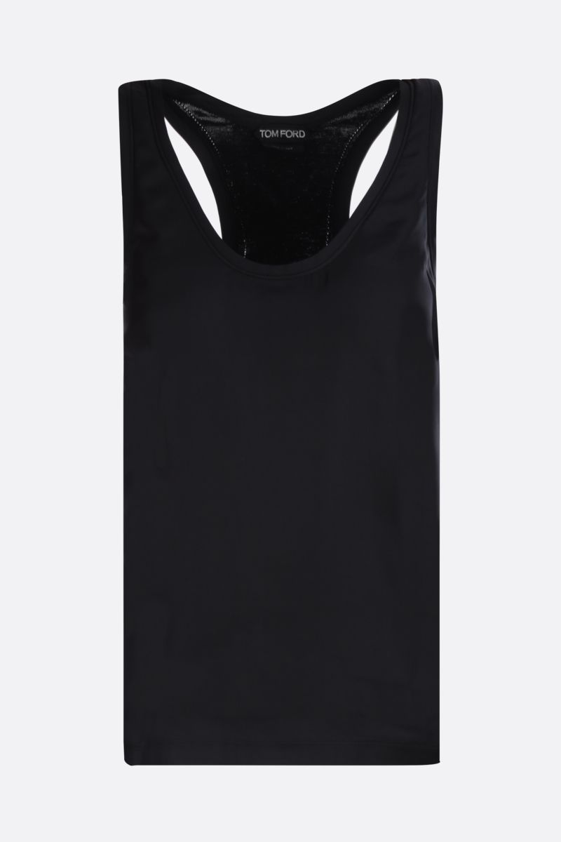 TOM FORD: cashmere silk blend tank top with satin front Color Black_1