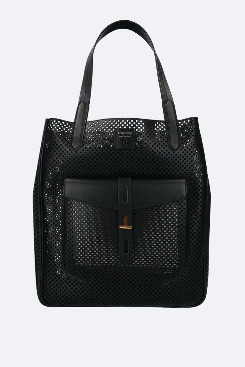 TOM FORD: borsa tote T-Twist in pelle traforata Colore Nero_1