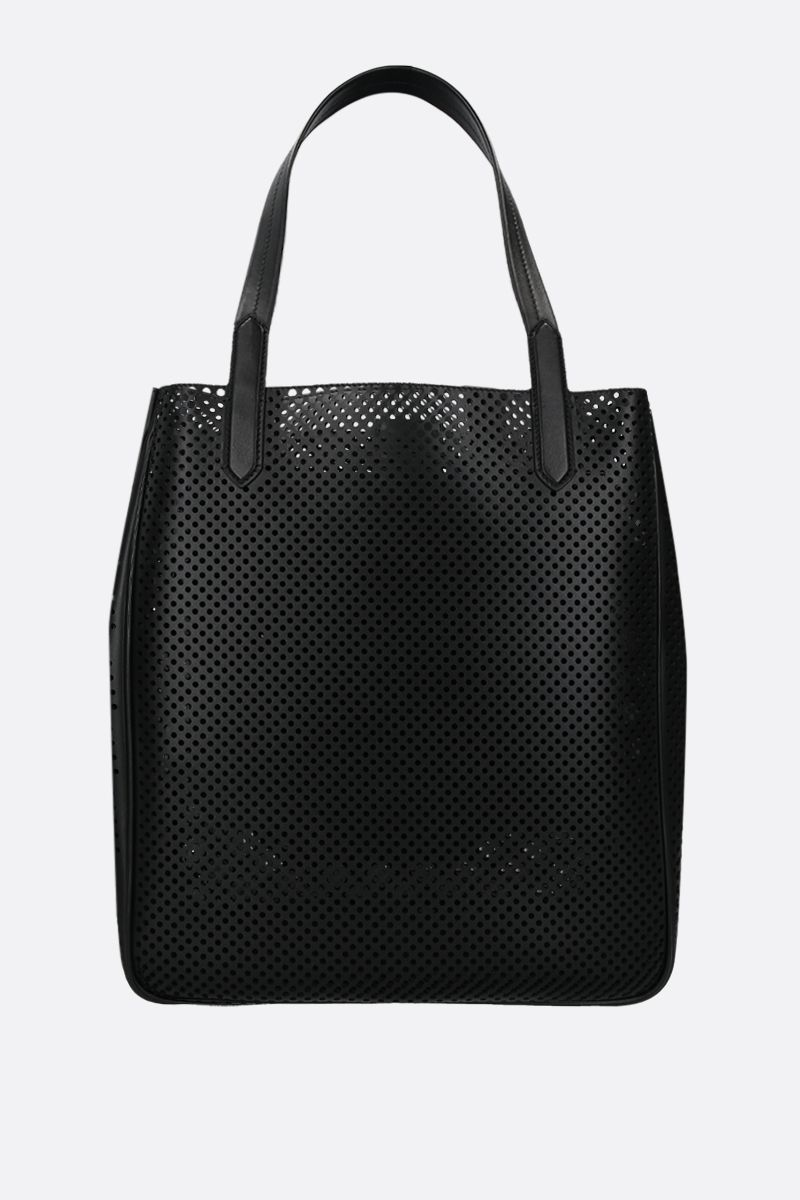 TOM FORD: borsa tote T-Twist in pelle traforata Colore Nero_2