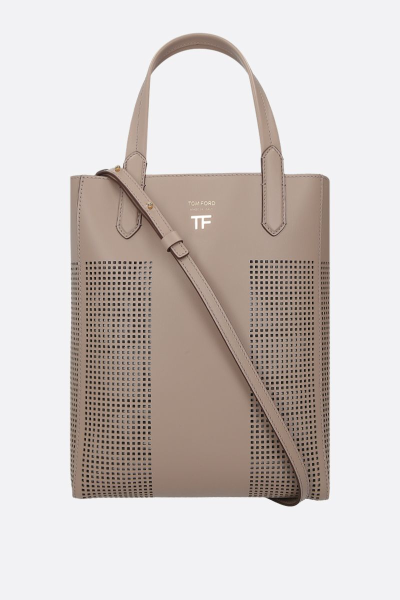 TOM FORD: TF tote bag in smooth and perforated leather Color Grey_1