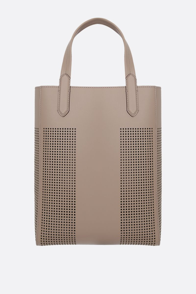 TOM FORD: TF tote bag in smooth and perforated leather Color Grey_2