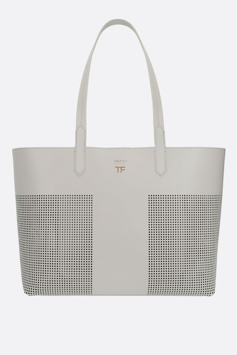TOM FORD: TF tote bag in smooth and perforated leather Color Neutral_1
