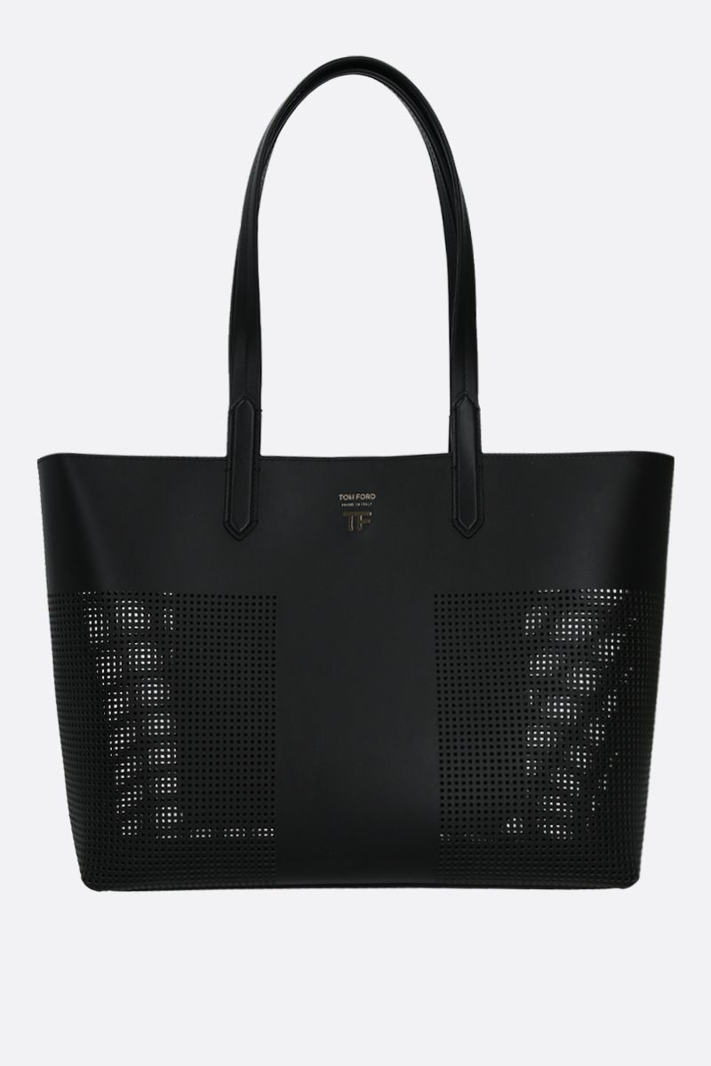TOM FORD: TF tote bag in smooth and perforated leather Color Black_1