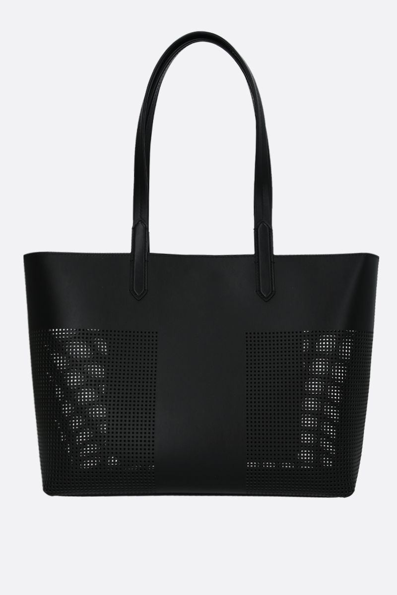 TOM FORD: TF tote bag in smooth and perforated leather Color Black_2