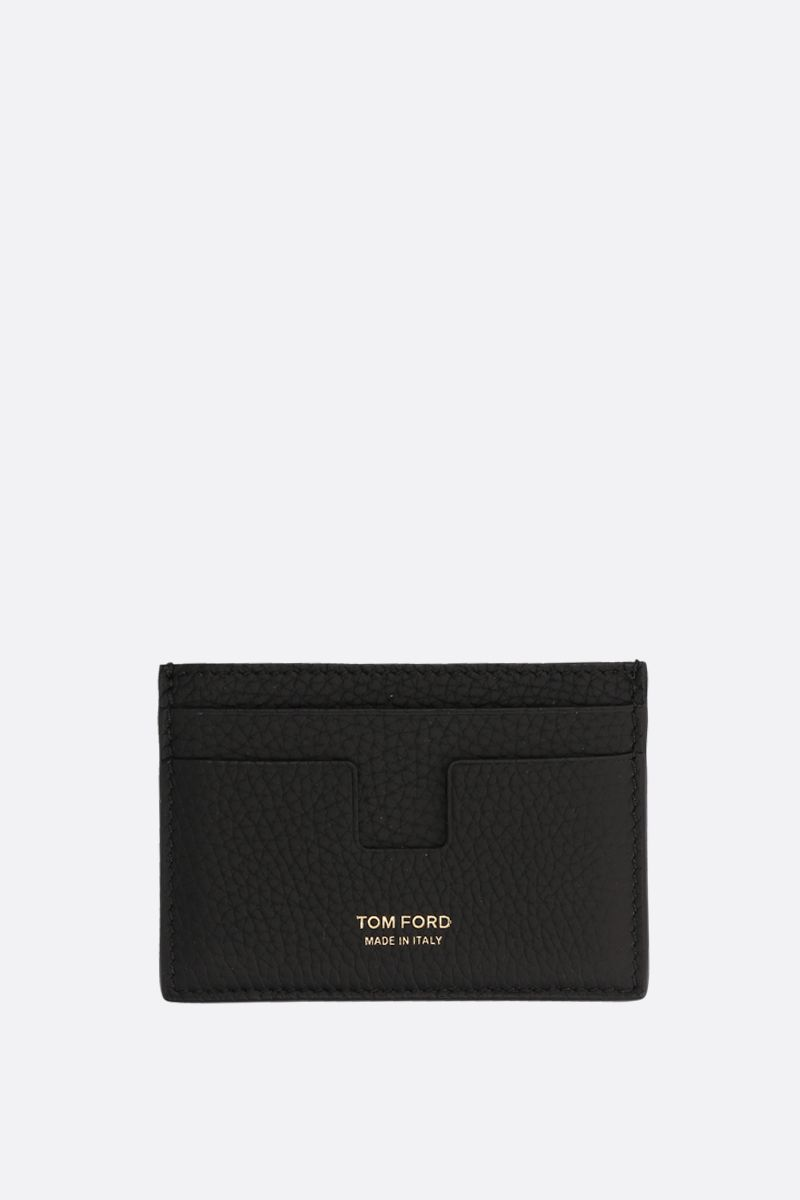 TOM FORD: T-line card case in grainy leather Color Black_1